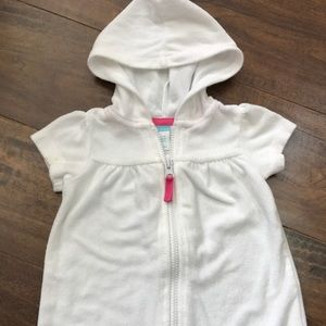 Old navy 3-6 mo swim cover white hooded terrycloth